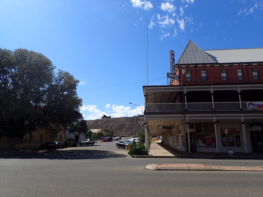 Palace Hotel and Miners Memorial (on top of the hill)