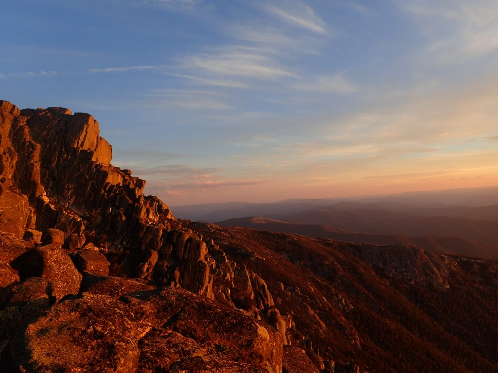 The Horn picnic area rocks at sunset