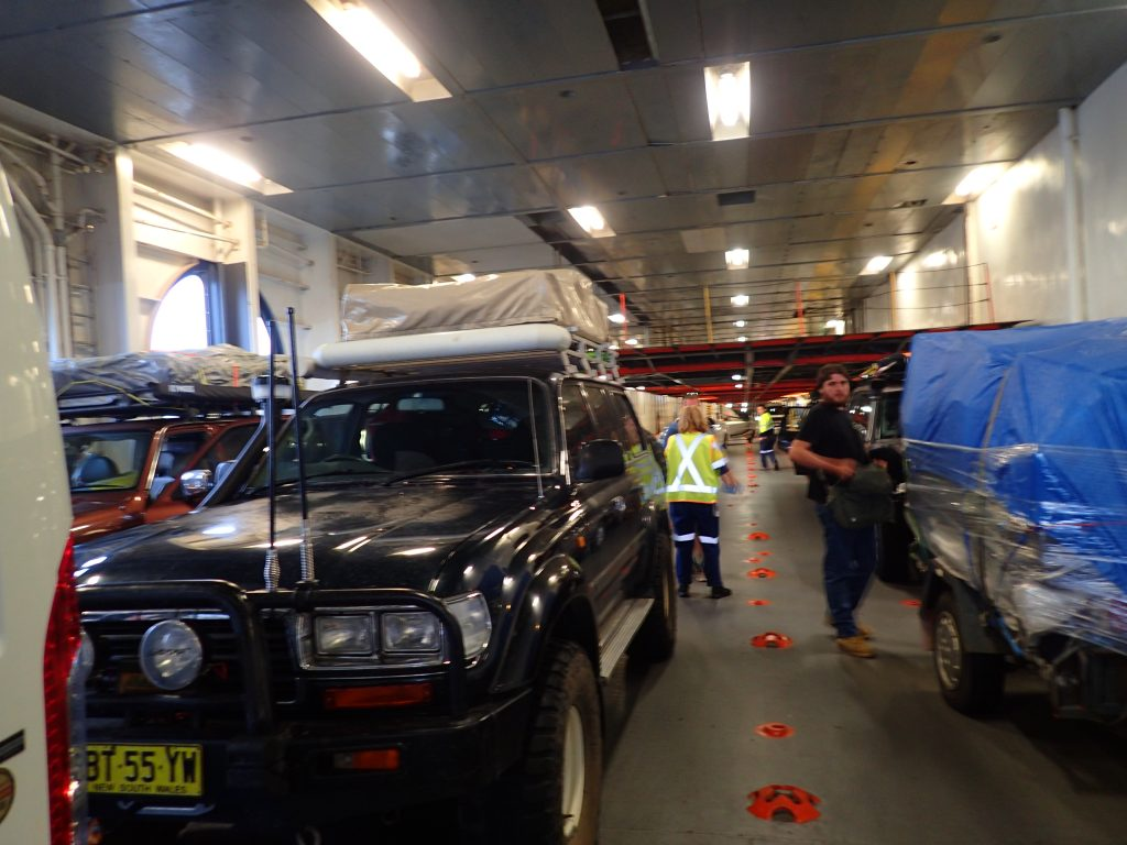 Monster Truck in the 'Spirit of Tasmania' car bay
