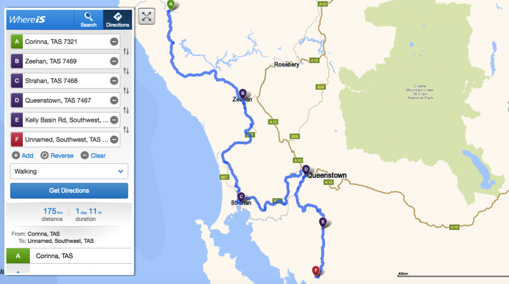 Our trajectory from Corinna to Kelly Basin, via Zeehan, Strahan and Queenstown!!