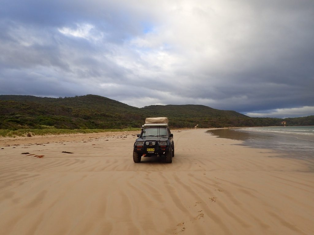 Driving back on the beach from Cloudy Corner Campground, Bruny Island TAS